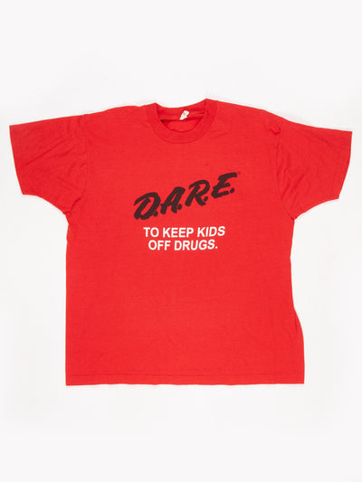 DARE Logo Printed T-Shirt Red / Black / White Size XL