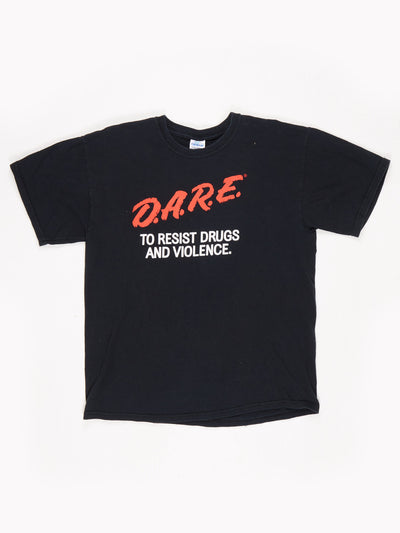 DARE Logo Printed T-Shirt Red / Black / White Size Large