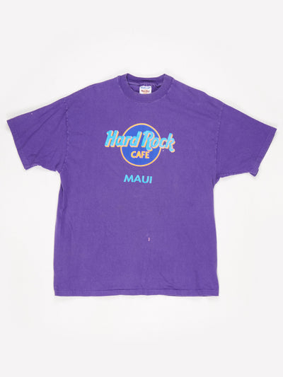 Hard Rock Cafe Maui Printed T-Shirt Purple / Multi Size XL