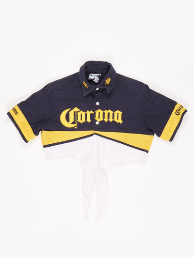 Corona Collared Cropped Tie Shirt Blue / Yellow / White SIze Medium