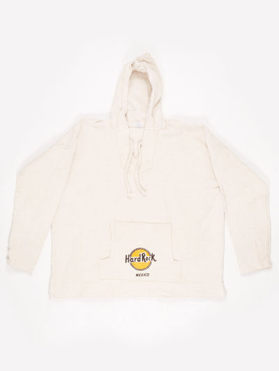 Hard Rock Cafe Mexico Branded Hooded Baha Jacket Cream / Yellow / Black Size XL