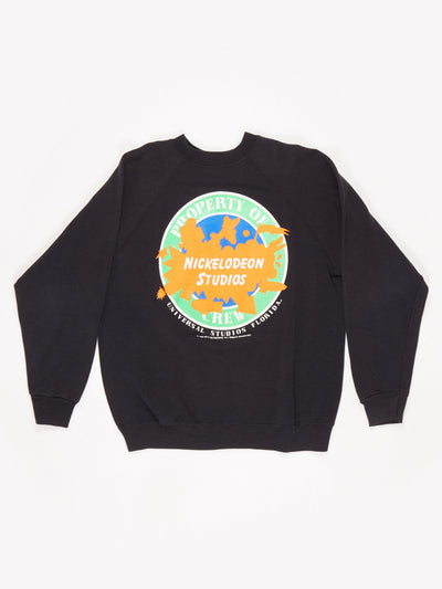 Universal Studios Florida Nickelodeon Printed Sweatshirt Black / Orange / Green Size Large