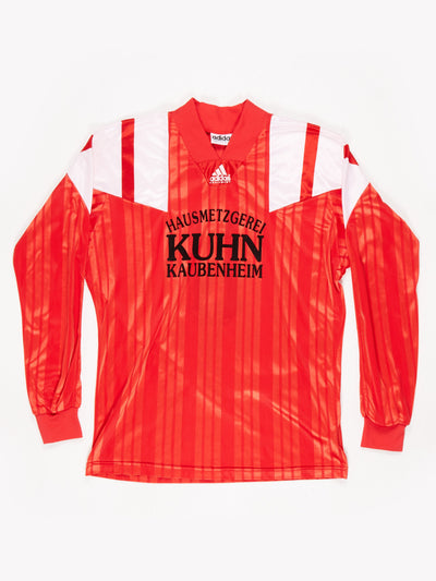 Adidas Sports Jersey 'HAUSMETZGEREI KUHN KAUBENHEIM' Red / White / Black Size Medium