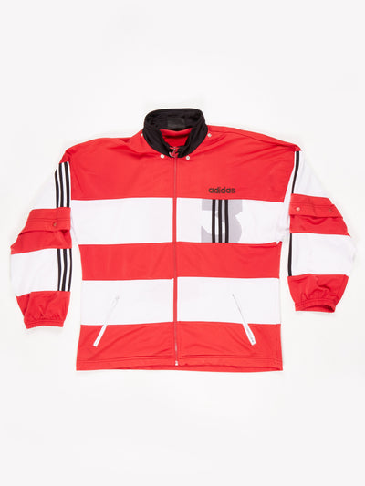 Adidas Zip Up Track Top with Removable Poppered Sleeves Red / White / Black Size XL