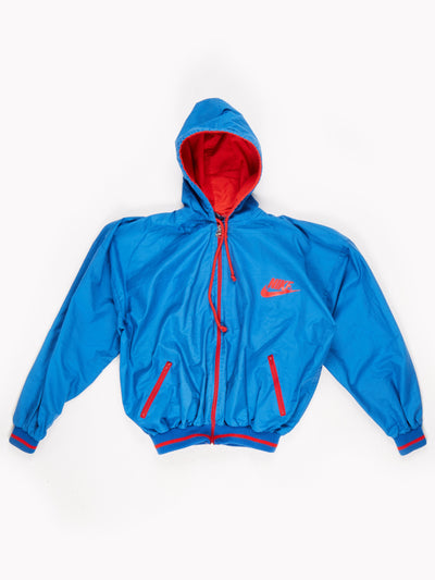 Nike Lightweight Cotton Zip Up Jacket with Hood Blue / Red Size XL
