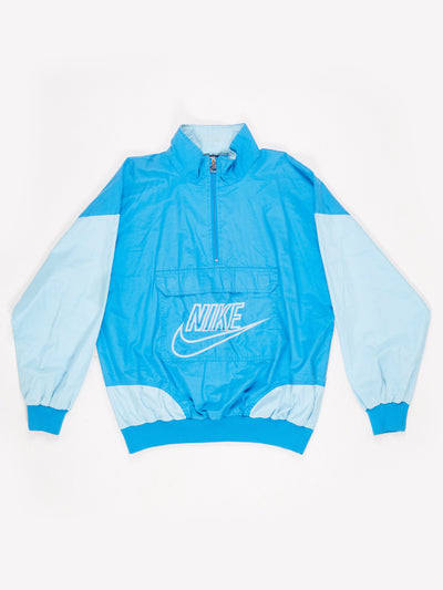 Nike Lighweight Half Zip Cotton Pullover with Front Pocket Blue / White Size Large