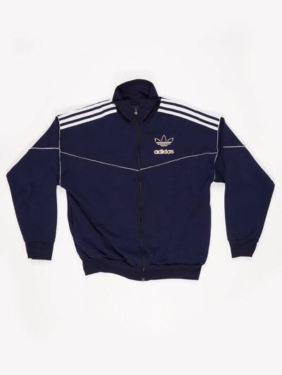 Adidas Zip Up Track Top with Piping Blue / White Size Medium