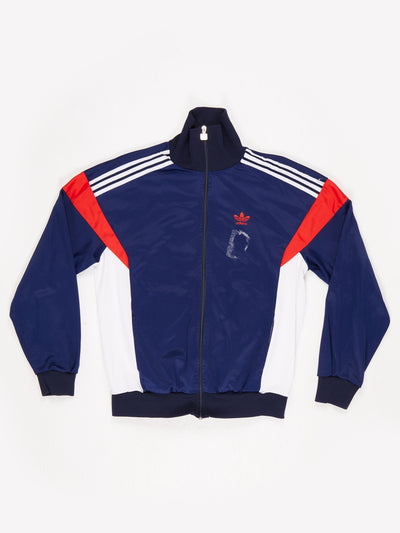 Adidas Zip Up Track Top with Small Embroidered Logo and Colourblock Side Panels Blue / White / Red Size Medium