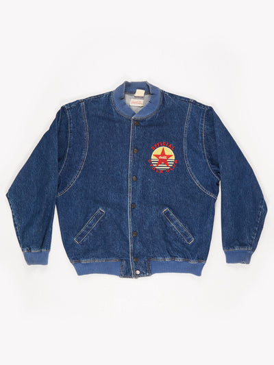 Coca-Cola Branded 'Official Cycle Club' Patched Denim Varsity Jacket Blue Size Medium