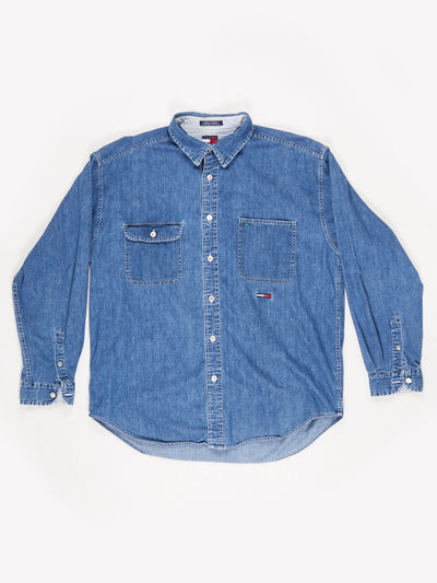 Tommy Jeans Denim Shirt with Branded Ribbon Down the Buttons Blue Size XL