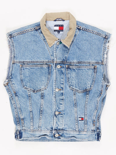 Tommy Hilfiger Sleeveless Denim Jacket with Contrast Collar Blue Size Medium