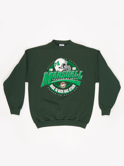 Marshall University 1998 Back to Back Championships Sweatshirt Green / White Size Large