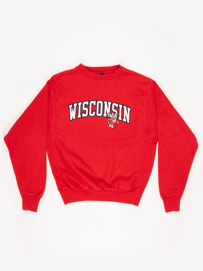 Wisconsin Badgers University Embroidered Sweatshirt Red / White Size Medium