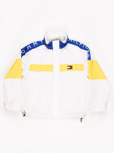 Tommy Hilfiger 90's Jacket with hood White / Yellow / Blue Size Medium