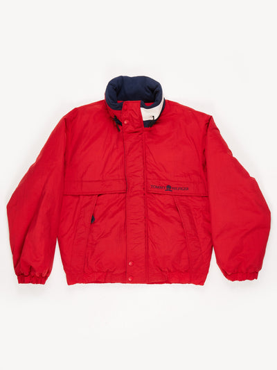 Tommy Hilfiger down filled Windbreaker Jacket with Hood Red / Navy Size Medium