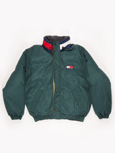 Tommy Hilfiger down filled Windbreaker Jacket with Hood Green / Yellow / Navy Size XL
