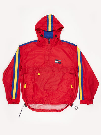 Tommy Hilfiger 1/2 zip 90's overhead nylon hacket with hood Red / Yellow / Blue Size Large