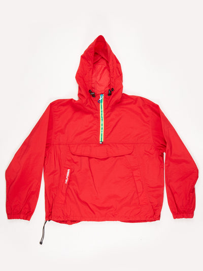 Tommy Hilfiger 1/2 zip 90's overhead nylon hacket with hood Red / Yellow Size Large