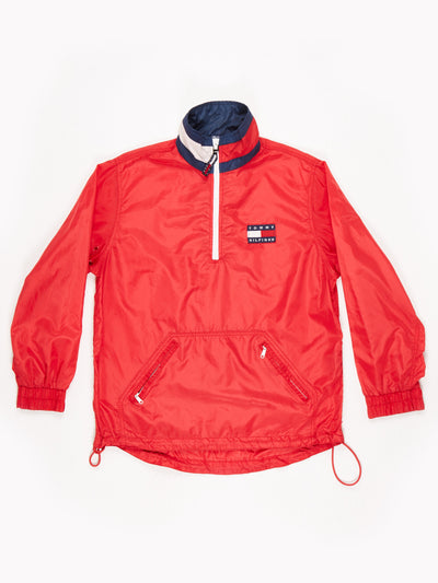 Tommy Hilfiger 1/2 Zip 90's Overhead Nylon Jacket Red Size Small
