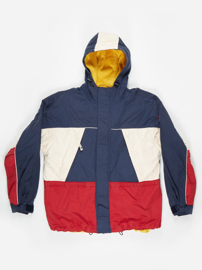 Tommy Hilfiger Fleece lined Jacket with Hood Blue / Red Size Medium