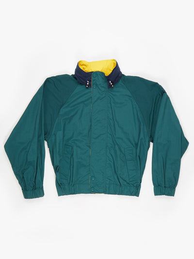 Tommy Hilfiger Green Windbreaker Jacket with Hood Green / Yellow / Blue Size Small