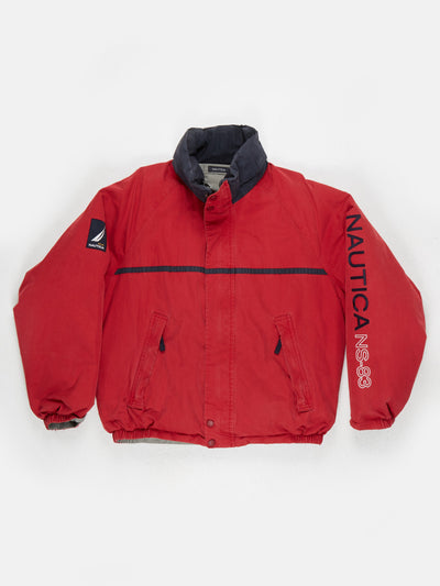 Nautica reversible down filled padded windbreaker with hood Red/ Grey Size Large