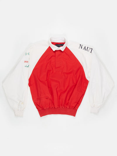 Nautica Challenge cotton overhead jacket Red / White Size Large