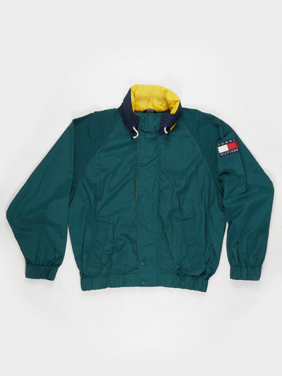 Tommy Hilfiger Windbreaker with hood Green / Blue / Yellow Size Large