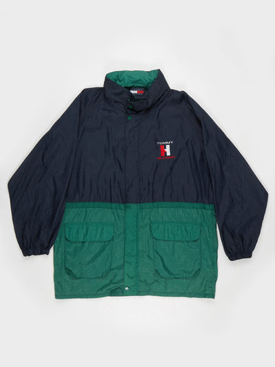 Tommy Hilfiger Nylon Long line Jacket with hood Navy / Green Size XL