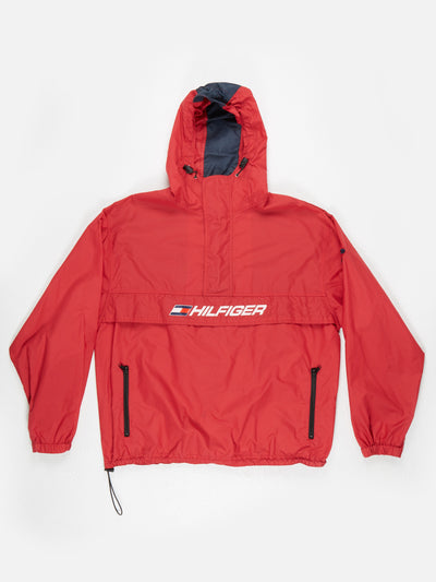 Tommy Hilifer 1/2 Zip overhead jacket with hood Red Size Large