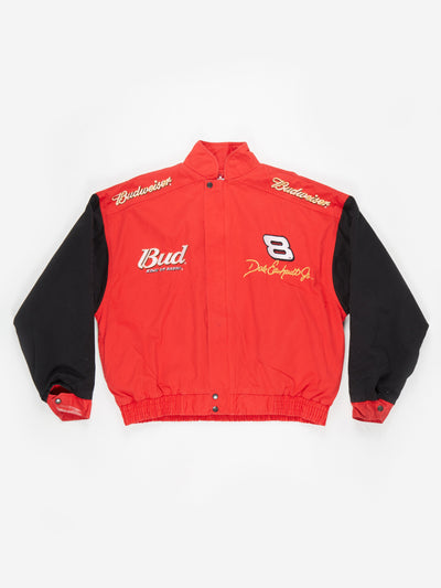 Dale Earnhardt Jnr Budweiser Nascar racing Jacket Red / Black Size Large