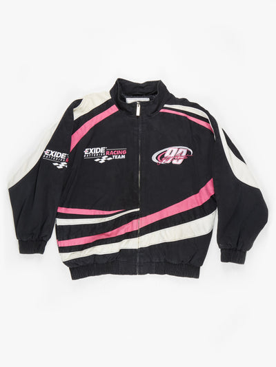 Jeff Burton 90's Nascar Racing Jacket Black / Pink / White Size XXL