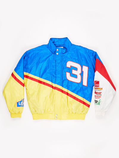 Mike Skinner 90's Team Lowe Nascar padded nylon Jackets Blue / Yellow / Red Size XL