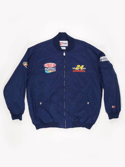 Dupont Jeff Gordon Nascar padded Bomber Jacket Navy Blue Size XXL