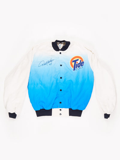 90's Tide Racing Nascar Bomber Jacket Blue / White Size Medium