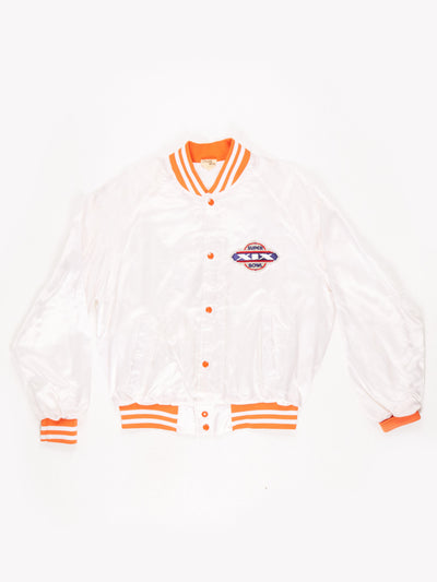 Miami Dolphins NFL 1985 Superbowl XIX Bomber Jacket White / Orange Size Large