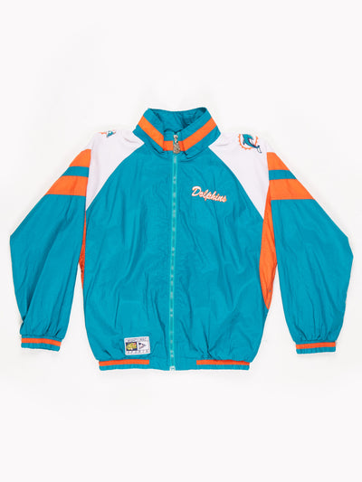 Miami Dolphins Mighy Mac 1990's NFL Shell Jacket Green / Orange Size Large