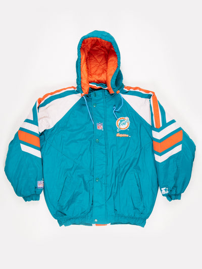 Starter Miami Dolphins NFL Padded Pro Sport Jacket Green / Orange Size Large