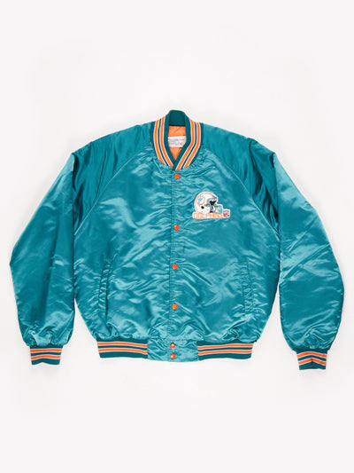 Miami Dolphins NFL Padded Bomber Jacket Green / Orange Size XL