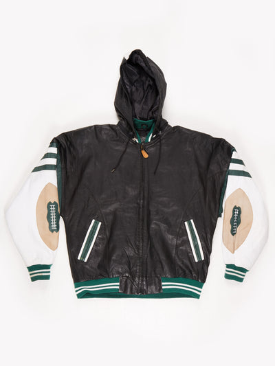 American Football Leather Jacket with Hood Black / Green / White Size Medium