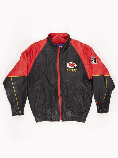 Kansas City Chiefs NFL Leather Bomber Jacket Black / Red Size Small