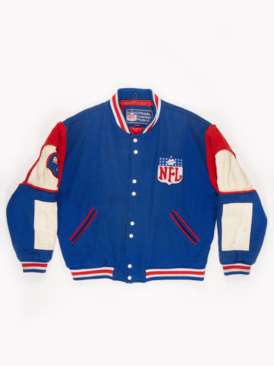 New York Giants NFL Varsity Bomber Jacket Blue / White / Red Size XL