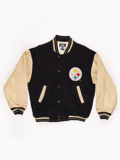 Pittsburgh Steelers NFL leather sleeve bomber Jacket Black / Gold Size Large