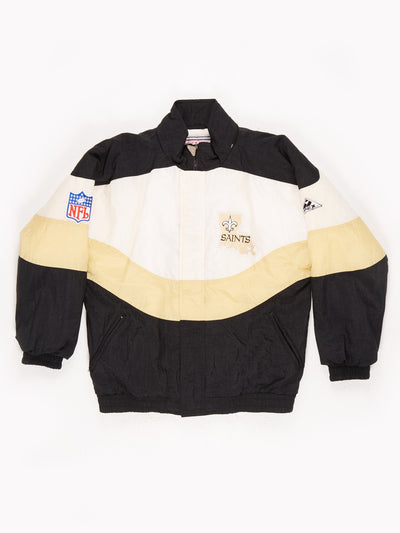 New Orleans Saints NFL Padded Pro Sport Jacket Black / Gold Size Medium