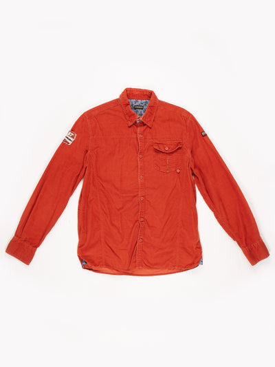Napapijri Long Sleeved Cord Shirt with Contrast Collar and Cuffs Orange Size Large