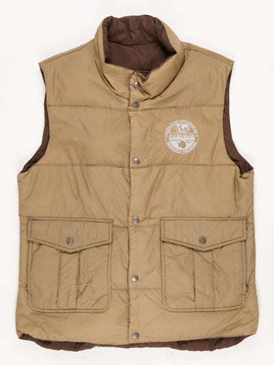 Napapijri Padded Reversible Gilet 'Explorers Official Staff Research Program' Logo Green Size Lage