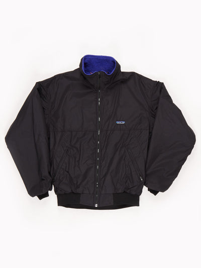 Patagonia Fleece Lined Jacket with Ribbed Cuffs and Hem Black Size Medium