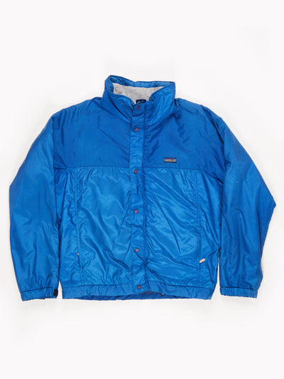 Patagonia Lined Zip Up Coat with Concealed Hood Blue Size Large