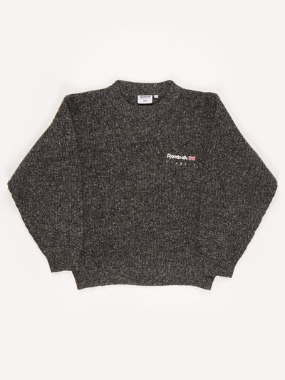 Reebok Crew Neck Knit with Small Embroidered Logo. Grey Size Small