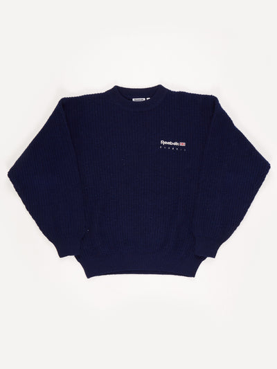 Reebok Crew Neck Knit with Small Embroidered Logo. Blue Size Medium